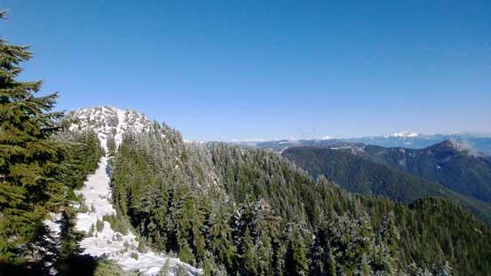 Cresting the ridge now, looking ahead