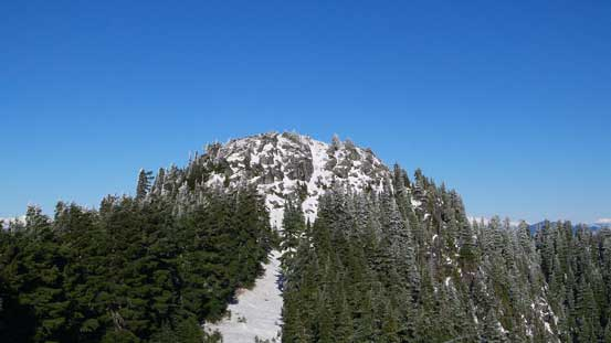 A zoomed-in view of the summit block