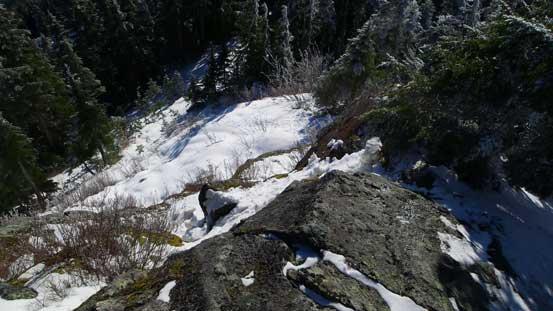 Descending the summit block