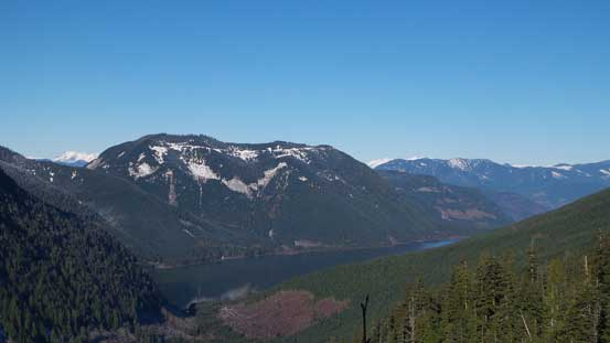 Looking down at part of Jones Lake and Four Brothers