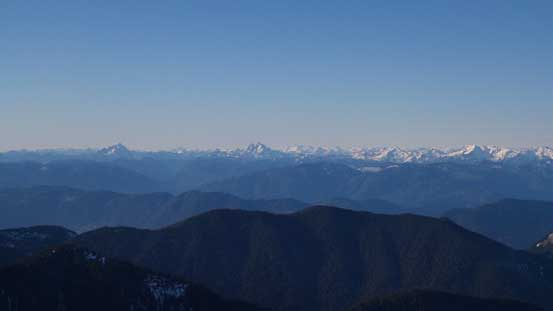 Peaks north of Fraser Valley including Robie Reid, Judge Howay and Clarke on the skyline