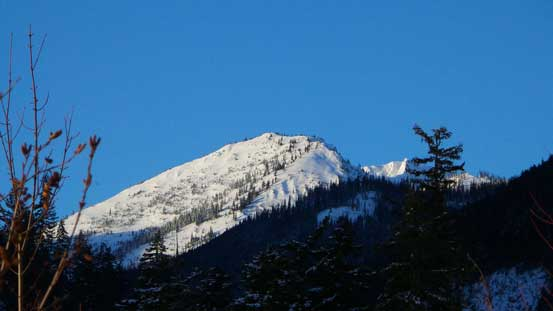 Our first glimpse of Claimstake Mountain. We ascended up from right and descended the face