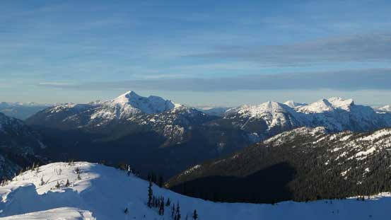 Mt. Outram and Mt. Dewdney on the skyline