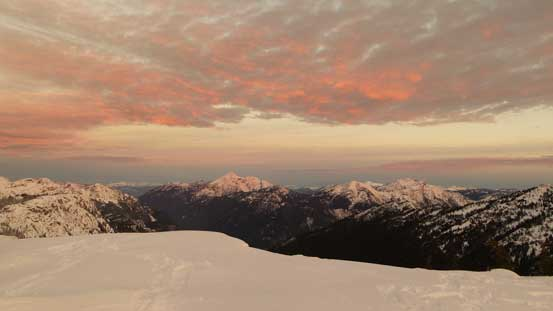 Morning sky over Mt. Outram and Mt. Dewdney