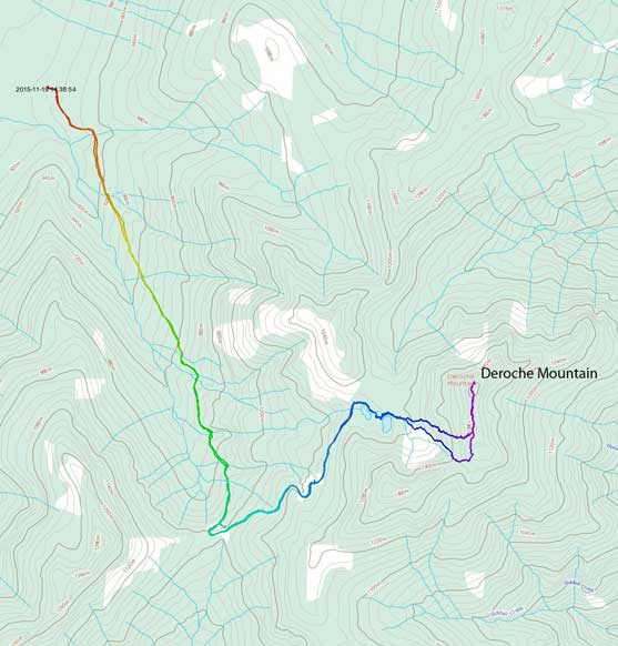 Deroche Mountain hike/snowshoe ascent route