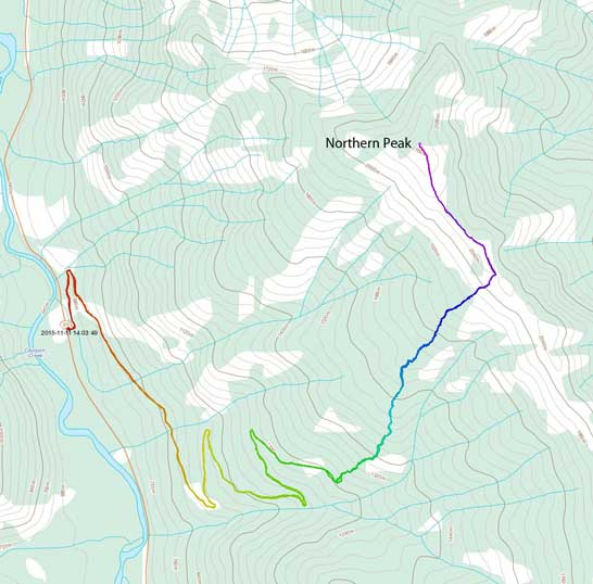 Northern Peak ascent route