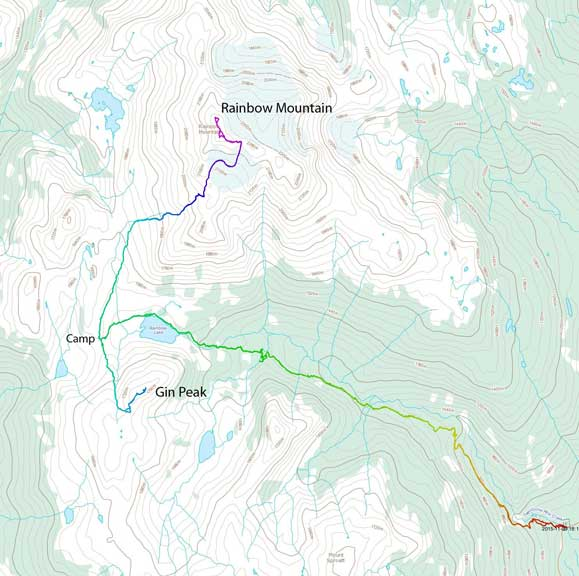 Rainbow Mountain and Gin Peak ascent route via 21 Mile Creek