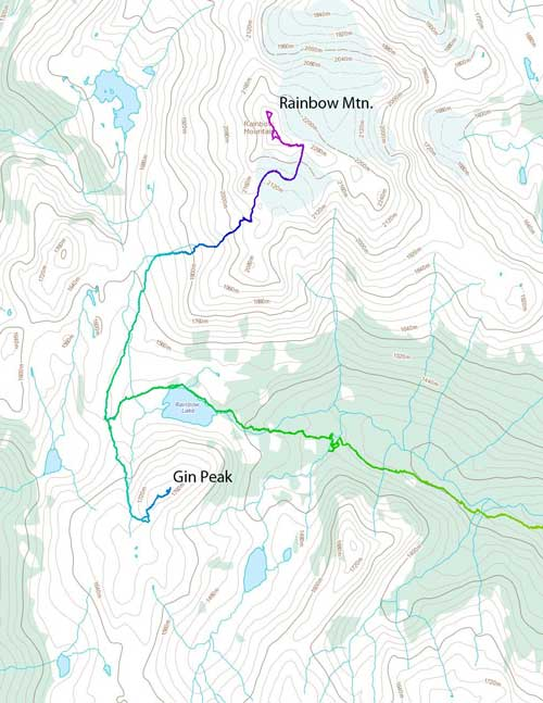 Ascent route for Rainbow Mountain and Gin Peak via 21 Mile Creek