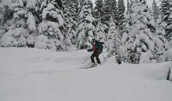 Me skiing the upper mountain. Photo by Alex