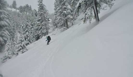 Me skiing in the gully. Photo by Alex