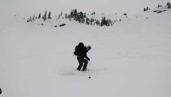 Me skiing down the lower portion of this face.. Photo by Alex