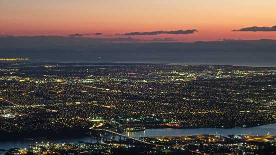 Dusk over the city of Vancouver