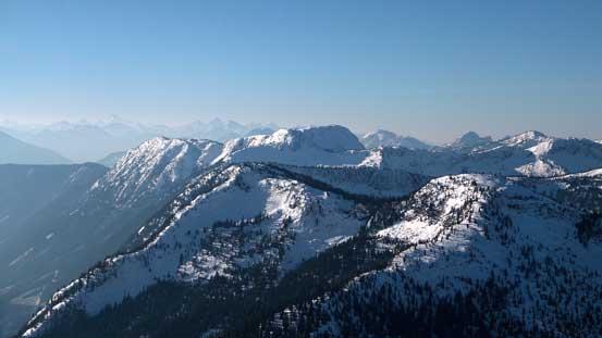 Bombtram Mountain with Great Bear Peak and Iago Peak in front