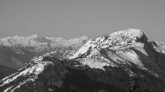 Gamuza Peak on right with Mt. Breakenridge and Traverse Peak behind on the horizon