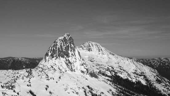 Vicuna Peak and Guanaco Peak in Black & White