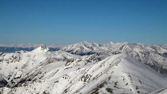 Looking north at the rest of Mission Range traverse with Shulaps Range behind