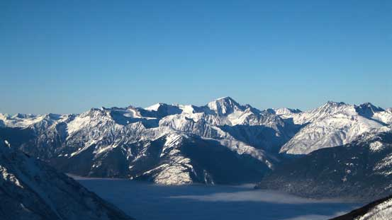 Whitecap Mountain dominates the skyline looking NW
