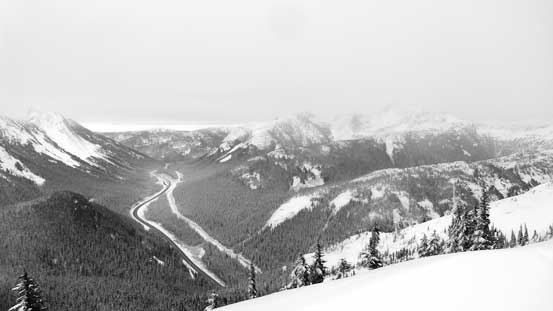 Looking down towards the highway and Coquihalla Pass