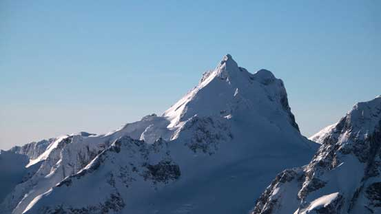 A closer look at Mt. Matier. The normal route goes up the right hand face