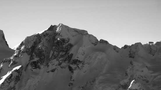 The impressive Joffre Peak with its central couloir visible. The normal route up the Aussie Couloir is on the backside