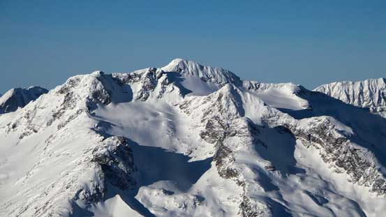 A zoomed-in view of Cayoosh Mountain - apparently a spring ski classic via this glacier