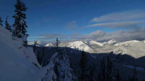 Looking towards Great Bear/Iago (center shot) - two peaks that we did last weekend