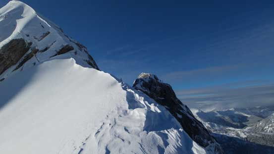 The first snow arete leading to the crux