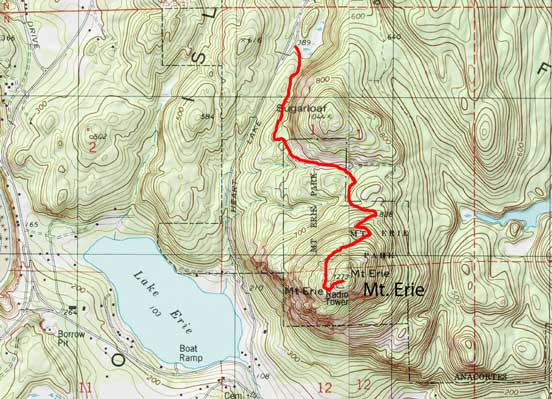 Mt. Erie Road direction map