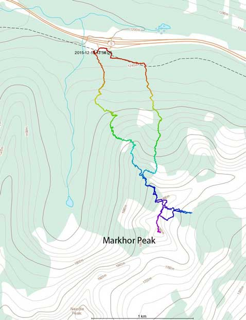 Markhor Peak ski ascent route