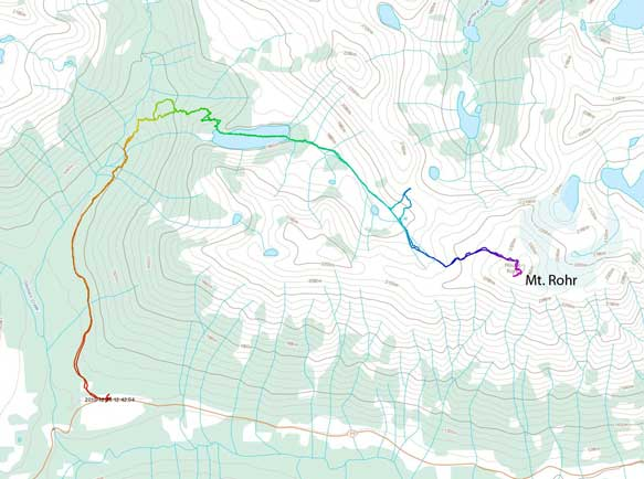 Mt. Rohr ski ascent route