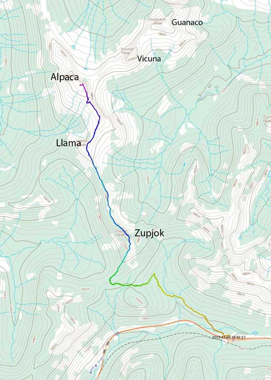 The traverse route from Zupjok to Llama to Alpaca