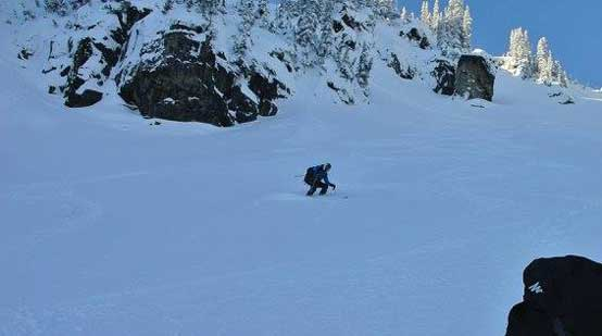 Me skiing down the E. Face. Photo by Alex