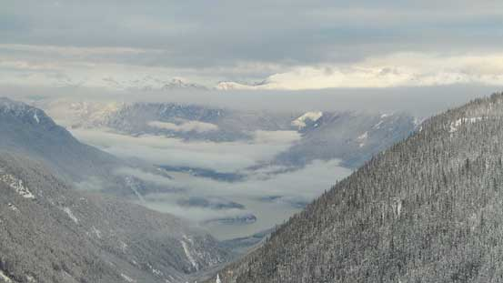 Looking down towards Lillooet Lake and valley