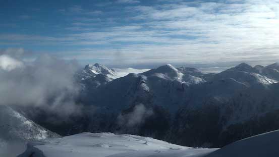 Nahatlatch Peak left of center south of the Stein Divide