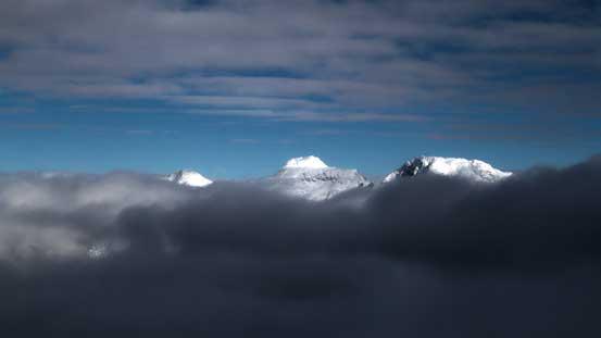 Meditation Mountain poking out (center)