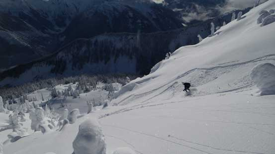Alex dropping in this steep gully