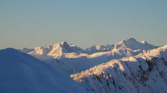 Morning view of some peaks on the McBride Range