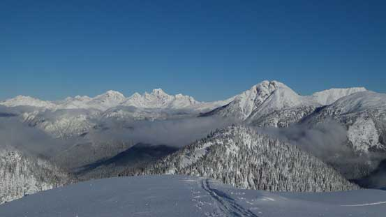 Another look over the summit of Beacon Mountain towards Joffre Group and Prior Peaks