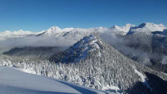 Beacon Mountain is the forested summit in foreground