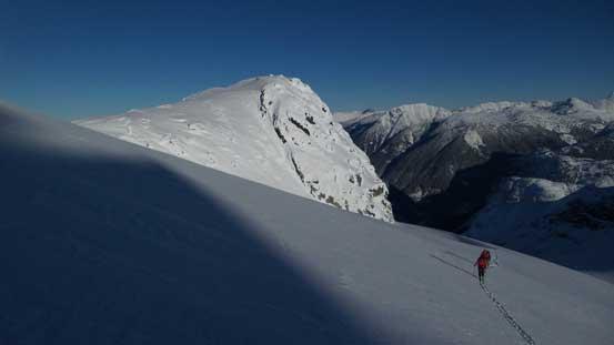 Higher up on the glacier