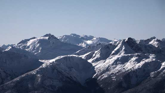 Mt. Pitt on left. Behind is Mamquam Mountain and its namesake icefield