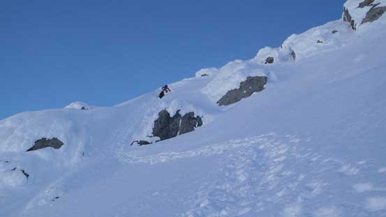 Alan and Ben down-climbing the couloir