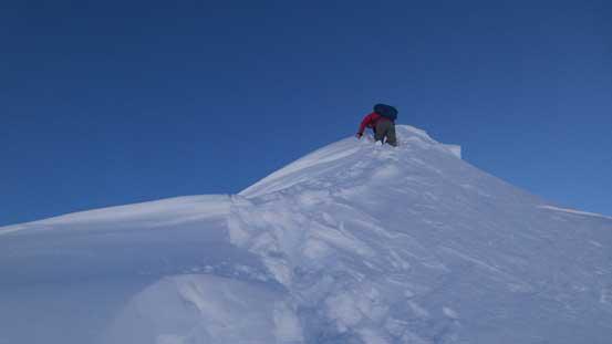 Ben down-climbing