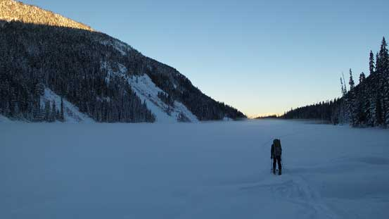 Skinning across Lizzie Lake