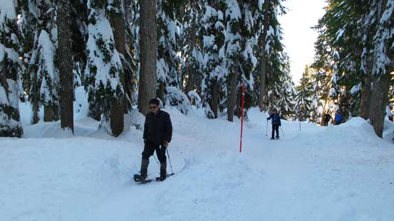 Snowshoeing following the red posts. There's a post for every 10 m or so...