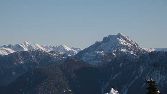 Cathedral Mountain with Meslilloet Mountain to its left on the skyline