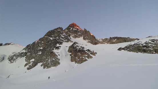 Alex skinning up with alpenglow on Joffre Peak