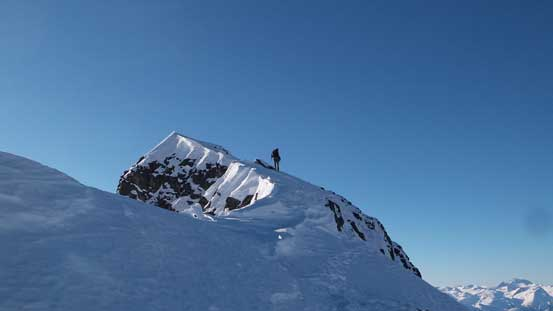 Alex on the final summit ridge traverse