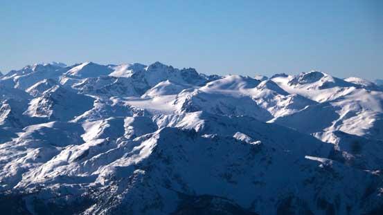 Mt. James Turner with the sea of peaks on Spearhead Traverse behind