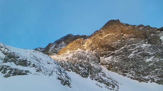 First light shone on Joffre Peak's cliff face
